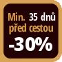 Při objednání minimálně 35 dnů před zahájením pobytu získáte slevu 30% z celé ceny ubytování.