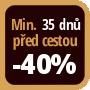 Při objednání minimálně 35 dnů před zahájením pobytu získáte slevu 40% z celé ceny ubytování.