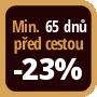 Při objednání minimálně 65 dnů před zahájením pobytu získáte slevu 23% z celé ceny ubytování.