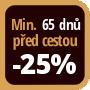 Při objednání minimálně 65 dnů před zahájením pobytu získáte slevu 25% z celé ceny ubytování.